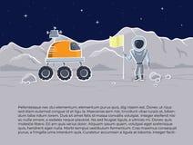 太空船和宇航员的传染媒介例证 免版税库存图片