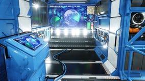 太空船未来派内部 科学幻想小说视图 3d翻译 皇族释放例证