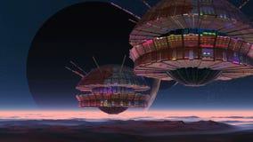 太空飞船、两月亮和外籍人行星 库存例证