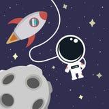 太空飞船、宇航员和月亮在空间 免版税库存照片