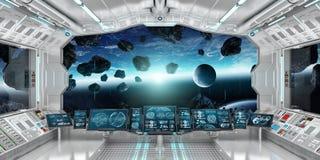 太空飞船内部有回报el的行星地球3D上的看法 免版税库存照片