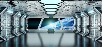 太空飞船内部有回报el的行星地球3D上的看法 免版税库存图片