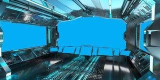 太空飞船内部有在蓝色窗口3D翻译的看法 免版税库存图片