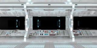 太空飞船内部有在黑窗口3D翻译的看法 免版税库存图片