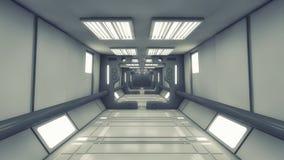 太空飞船内部走廊 免版税库存图片