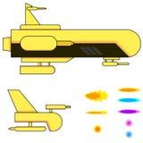 太空飞船和子弹 库存图片