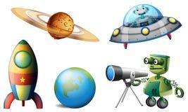 太空飞船和机器人 免版税库存照片