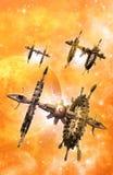 太空飞船和行星 免版税库存照片
