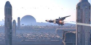 太空飞船在未来派城市 免版税库存图片
