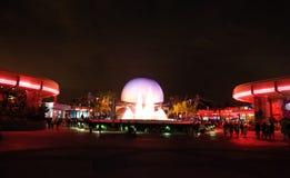 太空飞船地球在晚上 免版税库存图片