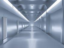 太空飞船或科学膝部,科学幻想小说走廊蓝色颜色 库存图片
