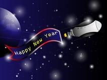 太空飞船新年好背景 免版税库存图片