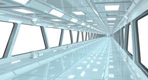 太空飞船白色走廊3D翻译 免版税图库摄影