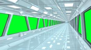 太空飞船白色走廊3D翻译 免版税库存图片