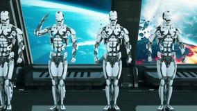 太空飞船的机器人战士向致敬以宇宙和行星为背景 飞碟的一个未来派概念 向量例证