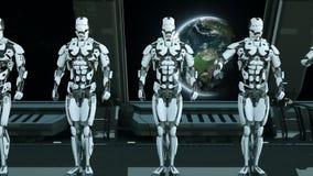 太空飞船的机器人战士向致敬以宇宙和行星为背景 飞碟的一个未来派概念 皇族释放例证