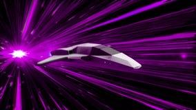 太空飞船的美好的抽象动画在超空间跃迁飞行的通过外层空间 o 3d动画  库存例证