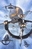 太空飞船舰队和行星 免版税库存图片