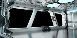 太空飞船蓝色和白色内部3D翻译 库存图片