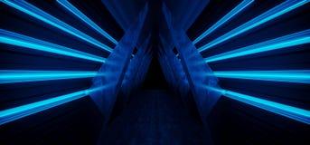 太空飞船霓虹萤光虚拟现实蓝色发光的充满活力的黑暗的空的三角形状的走廊隧道走廊具体难看的东西 向量例证