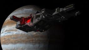 太空飞船飞碟外籍人和行星 免版税库存图片