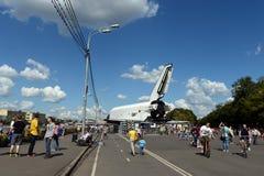 太空飞船Buran在以高尔基命名的休息公园在莫斯科 免版税库存照片
