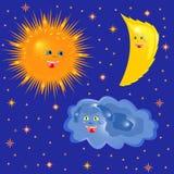 太阳、在满天星斗的天空的月亮和云彩 库存图片