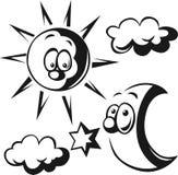 太阳、月亮、云彩和星-黑概述 库存图片
