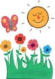 太阳、花和蝴蝶儿童的例证 库存图片