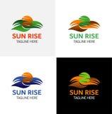 太阳上升商标模板 皇族释放例证