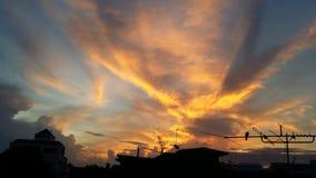 太阳上升在城市 库存图片