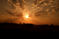 太阳上升天空覆盖乌鸦 免版税图库摄影