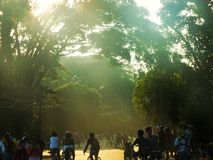 太阳上升早晨在公共场所 库存照片