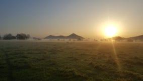 太阳上升Breidden小山 库存照片