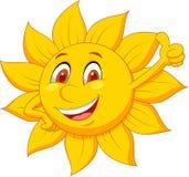 太阳与赞许的漫画人物 库存照片