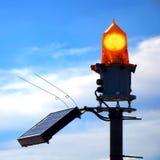 太阳供给动力的海事安全橙色立标灯 免版税图库摄影