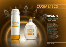 太阳保护现实产品设计 在迷离闪耀的背景的化妆瓶 广告或杂志的模板 免版税库存照片