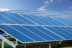 太阳农厂公园 太阳电池板,晴朗的蓝天 免版税图库摄影