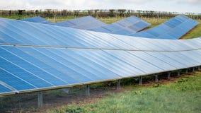 太阳农场 太阳电池板,能承受,可再造能源 免版税库存照片