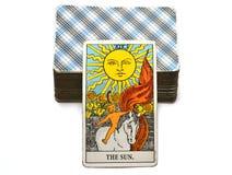 太阳占卜用的纸牌生活能量生命力喜悦启示温暖显示幸福 向量例证