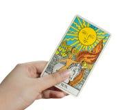 太阳卡片,在白色背景的占卜用的纸牌 库存照片