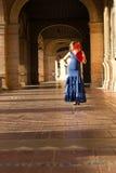 太阳和佛拉明柯舞曲的幸福 免版税库存照片
