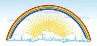 太阳和在雨以后的一条彩虹-导航illustra 库存图片