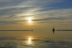 太阳和安静在晚上 免版税库存照片