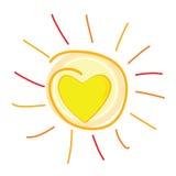 太阳和心脏在中心传染媒介例证 免版税库存照片