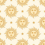 太阳和星形 无缝的模式 库存照片