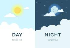 太阳和月亮半天夜与云彩 免版税库存图片