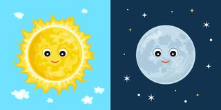太阳和月亮 逗人喜爱的滑稽的字符 皇族释放例证