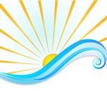 太阳和波浪模板 库存例证