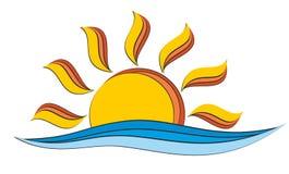 太阳和海商标 免版税库存图片